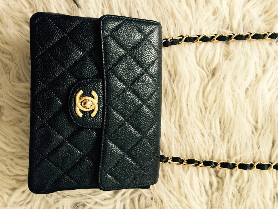 7d9d3e06fbcc Chanel Mini Square Classic Single Flap 2.55 Quilted Leather Gold Hardware  Ghw Woc Chain 24k Plated ...