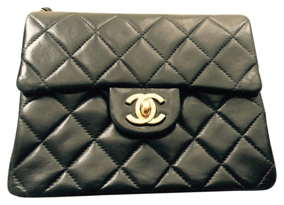 b3bb5c5fff35 Chanel Classic Flap 2.55 Reissue Mini Square Quilted Gold Hardware Black  Lambskin Leather Cross Body Bag