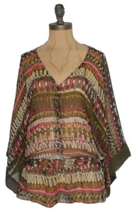 Matty M Silk Sheer See Through Top Multi Color Print