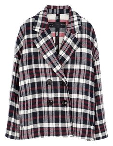Zara Oversized Plaid Checkered Jacket Coat Peacoat Fashion Oversizedcoat Red Black White Blazer