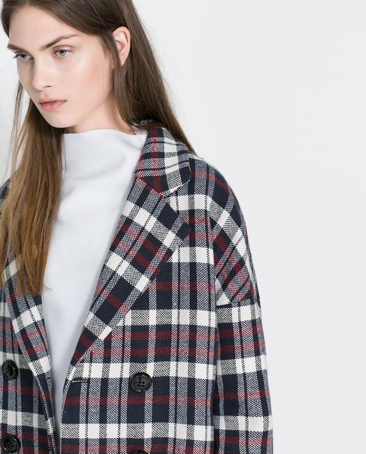 Zara Oversized Plaid Checkered Jacket Coat Peacoat Trendy Fashion Red Black Oversizedcoat Oversized Red Black White Blazer