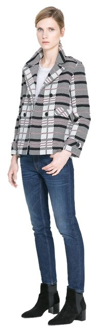 Preload https://item5.tradesy.com/images/zara-checked-blackwhitered-woman-double-breasted-small-blazer-size-4-s-6194104-0-1.jpg?width=400&height=650