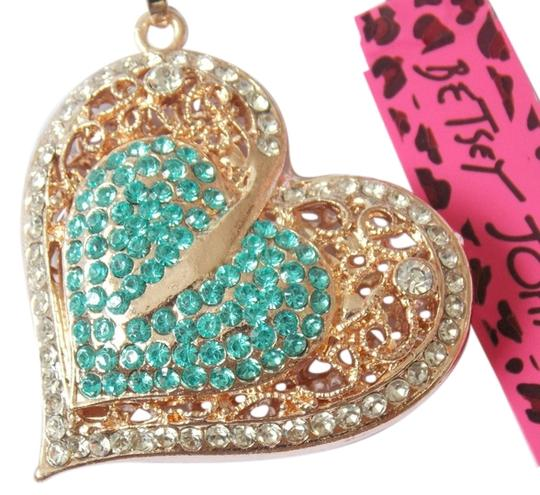 Betsey Johnson Betsey Johnson Teal and Gold Heart Statement Necklace