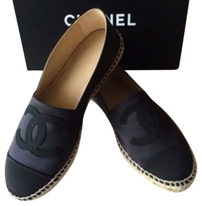 Chanel Espadrilles Satin Classy Sold Out 2year Waiting List Stylish Black Flats