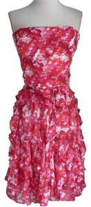 White House | Black Market short dress Red, pinks Chiffon Floral Summer Lined Strapless on Tradesy