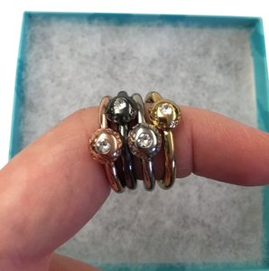 Coach PAVE disc stackable ring set