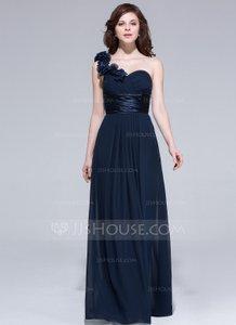 Dark Navy Chiffon One-shoulder Empire Floor-length Bridesmaid Dress With Ruffle Flowers Dress