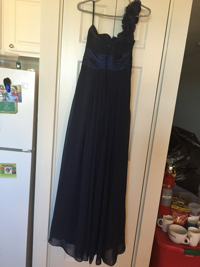 JJ's House Dark Navy Chiffon One-shoulder Empire Floor-length with Ruffle Formal Dress Size 10 (M)