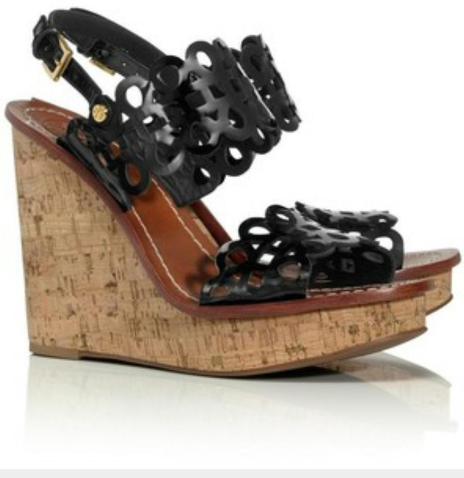 5eeceaeb478522 Tory Burch Black Nori Perforated Wedge Heels In Leather Sandals Size ...