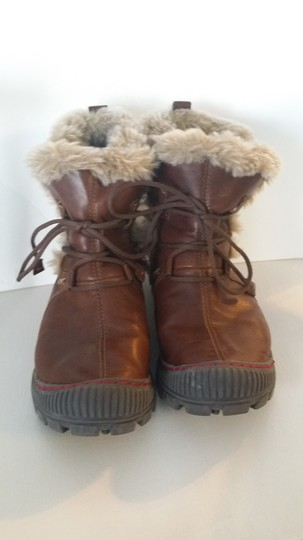 Kalso Earth Leather Faux Fur Bridle Brown Boots