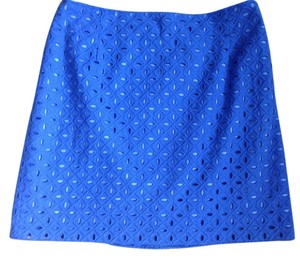 Tahari New With Tags Eyelet Mini Skirt Blue