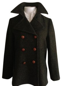 Burberry Notched 100% Wool Made In Italy Double Breasted Wide Lapel Pea Coat
