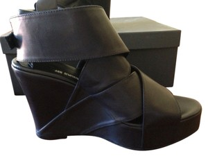 Ann Demeulemeester Italian Leather Wedge Black Wedges