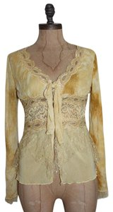 Anthropologie Hazel Victorian Embellished Sequn Lace Trim Top YELLOW