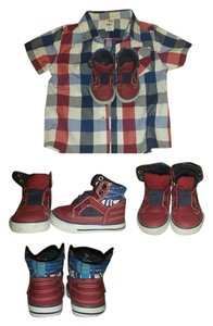 Healthex Button Down Shirt Red, White and Blue Plaid