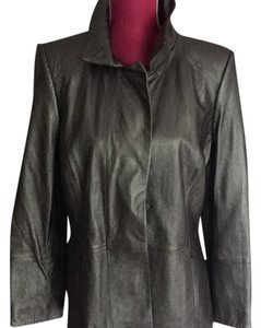 Dana Buchman Silver metallic Leather Jacket