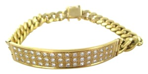 18KT SOLID YELLOW GOLD CUBAN LINK 48 GENUINE 2 CARAT DIAMONDS PAVE BRACELET