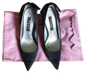 Nina Shoes Satin Pumps Bow Pump Black Formal