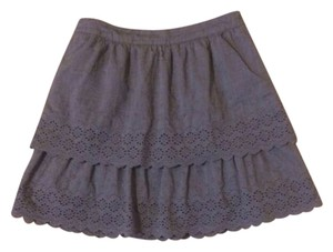 J.Crew Eyelet Tiered Mini Skirt Gray