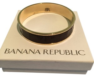 Banana Republic Banana Republic Brown Croc Gold-Toned Bangle Bracelet