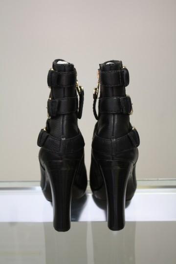 Juicy Couture Retails $225 Solf Tumble Caft Leather Heels Buckle Zipper Heart J Logo Platform Black Boots