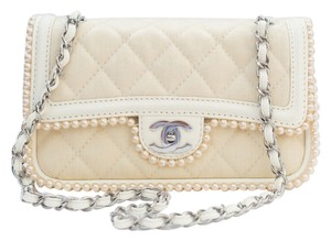 Chanel 2.55 Flap Front Flap Canvas Quilted Braided Leather Shoulder Bag