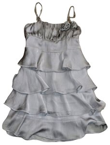 Forever 21 Gray Shimmer Ruffle Dress