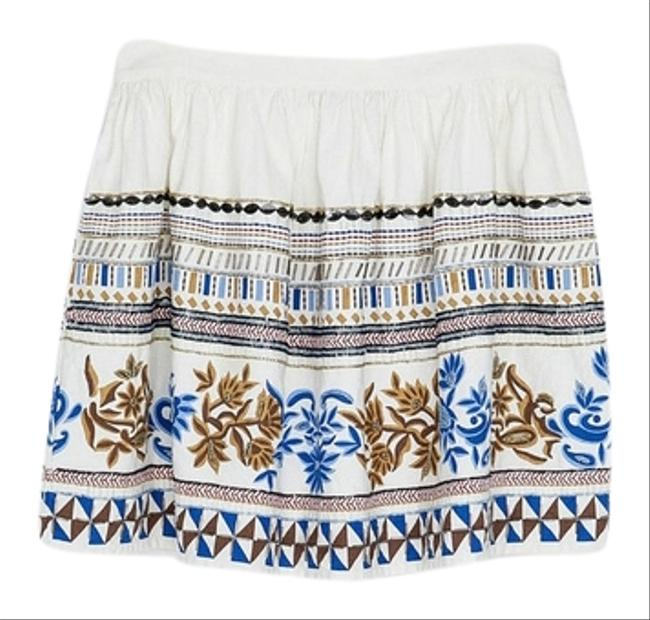 Zara Embroidered Mini Skirt White