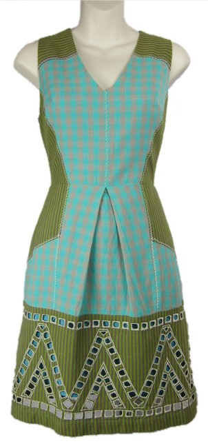 Anthropologie short dress turquoise, olive green Plaid Tribal Sleeveless Cotton on Tradesy