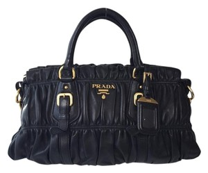 Prada Leather Tote Satchel in Black