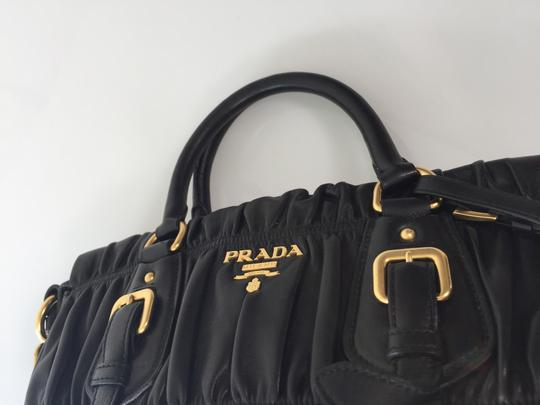 Prada Leather Tote Gold Hardware Satchel in Black
