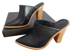 Tibi Wooden Heal Toe Celebrity Favorite Fall Day To Night Leather Black Mules