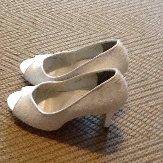 Touch Ups White Satin Lace Platforms