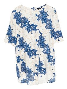 Zara Printed Floral Top White, Blue