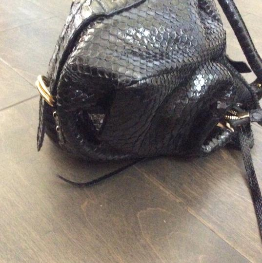 Genuine Black Python Gucci Prada Valentino Hobo Snake Skin Satchel in Black