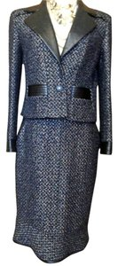Chanel CHANEL 02A Leather & Blue Black Metallic Boucle Suit | Size 40