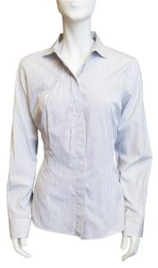 Brunello Cucinelli Striped Spread Collar Shirt Blouse Xl Button Down Shirt White, Navy