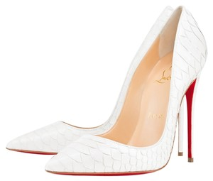 Christian Louboutin So Kate White Python Pumps
