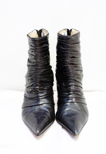Manolo Blahnik Manolo Leather Ruched Pleated Zip Ankle Black Boots