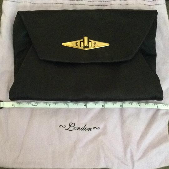 LuLu Guinness London Evening Satin Wallet Accessory Casual Formal Prom Love Friendship Gold Hardware Sale Small Black With Embroidery Clutch