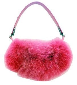 Escada New 2005 Hot Fox Eluna Fur Leather Studded 33265 Shoulder Bag