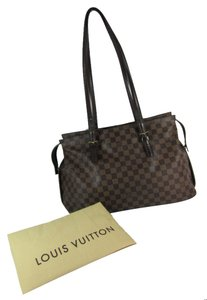 Louis Vuitton Lv Logo Damier Leather Tote