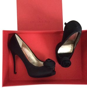 Valentino Peep Toe Evening Designer Black satin Formal