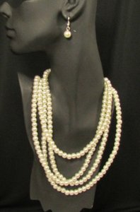Women 40 Long Fashion Necklace Strands Imitation Pearl Beads Earrings
