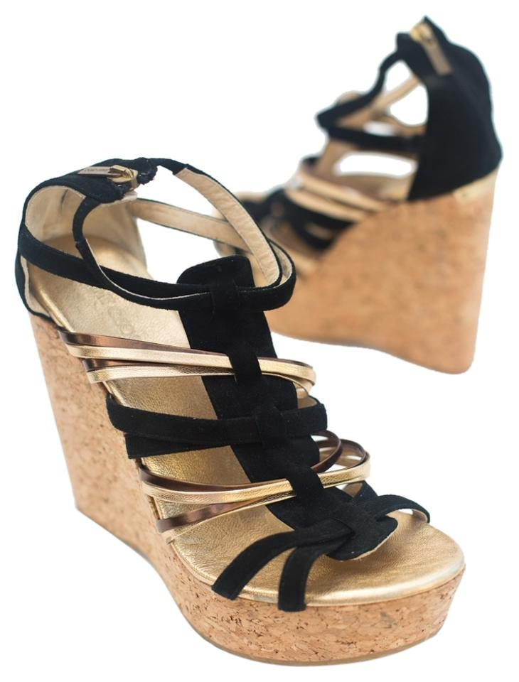 5765a8bc869 Jimmy Choo Black and Gold Strappy Cork Wedges Size US 9.5 Regular (M ...