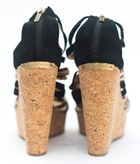 Jimmy Choo Cork Suede Leather Multistrap Black and Gold Wedges