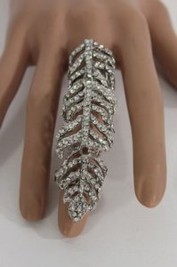 Women Silver Gold Leave Knuckle Metal Fashion Ring Adjustable Rhinestone