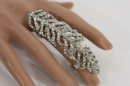 Other Women Silver Gold Leave Knuckle Ring Adjustable Rhinestone