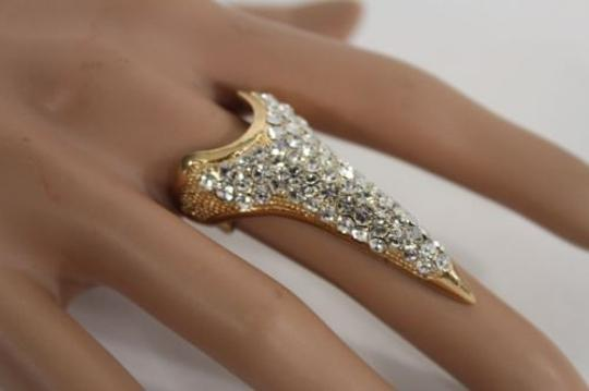 Other Women Silver Gold Ring Nail Claws Gothic Knuckle Rhinestones