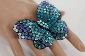 Women Pewter Butterfly Ring Fashion Metal Purple Black Brown Teal Rhinestone